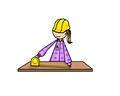 Construction woman with measuring tape