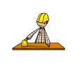 Construction man with measuring tape