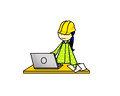 Construction woman with laptop