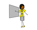 Woman/teacher giving presentation